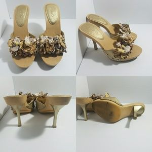Aldo gold with fabric flowers size